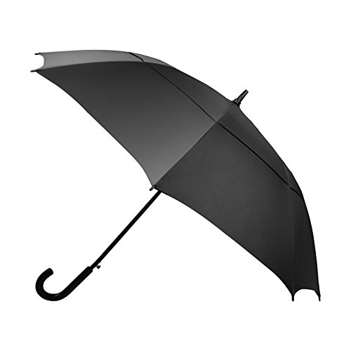 Becko Auto Open Umbrella Long Umbrella with Double Canopy, Durable and Strong Enough for the Fierce Wind and Heavy Rain, Classic Style with Bent Handle, Unisex Umbrella - Black (Style Umbrella Offset)