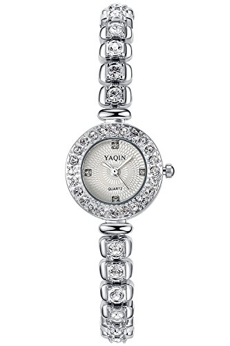 (INWET Rhinestone Quartz Watch for Women,Small Dial,Crystal Indexes and Bracelet)