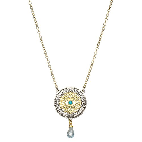 Modern Evil Eye Necklace With Good Luck Turquoise Blue in Gold and Silver to Watch and Protect You Turquoise Silver Gold Watch