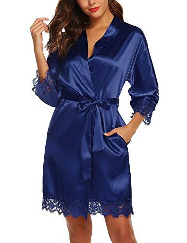 URRU Women Satin Kimono Wedding Party Robe Christmas Bathrobes Navy Blue XL -