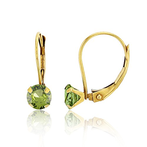 14K Yellow Gold 6mm Round Peridot Martini Leverback (Each Round Leverback Earrings)