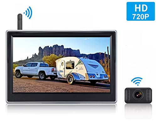 LeeKooLuu HD Digital Wireless Backup Camera for Cars,SUVs,Pickups,Trucks,Minivans High-Speed Observation 5' Monitor System Front/Rear View Camera IP69K Waterproof Night Vision Guide Lines ()