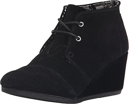TOMS Women's Desert Wedge Black Suede Boot 12 B (M)