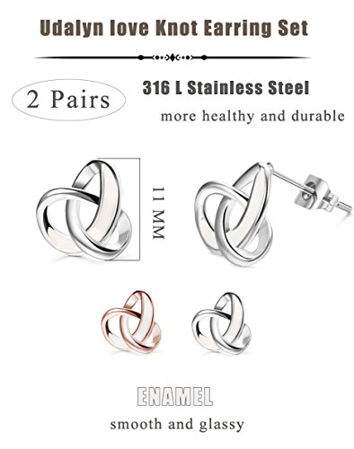 Udalyn 2 Pairs 20G Twisted Love Knot Earring Stainless Steel Heart Post Earrings For Women Girls Rose Gold-tonr by Udalyn (Image #1)