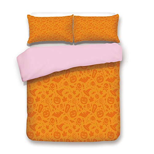 iPrint Pink Duvet Cover Set/Queen Size/Monochrome Design with Traditional Halloween Themed Various Objects Day/Decorative 3 Piece Bedding Set with 2 Pillow Sham/Best Gift for Girls Women/Orange]()