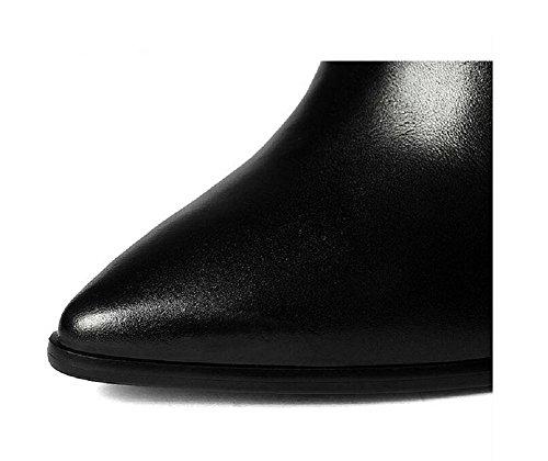 Chunky Talons Chaussures Nues Automne / Hiver Bottes En Cuir Véritable Bottines Pointu Femme, 39