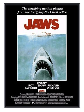 Jaws - Framed Print - Quality Black Metal Frame 24 x 36