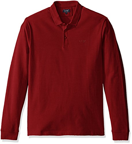 Armani Jeans Men's Solid Long Sleeve Polo Shirt, Bordeaux, XXL