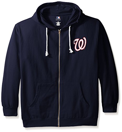 MLB Washington Nationals Women's Plus Size Zip Hood with Logo, 2X, Navy by Profile Big & Tall