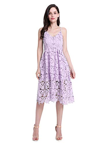 er Wedding Party Cami Strap Midi Lace Dress Light Purple XL ()