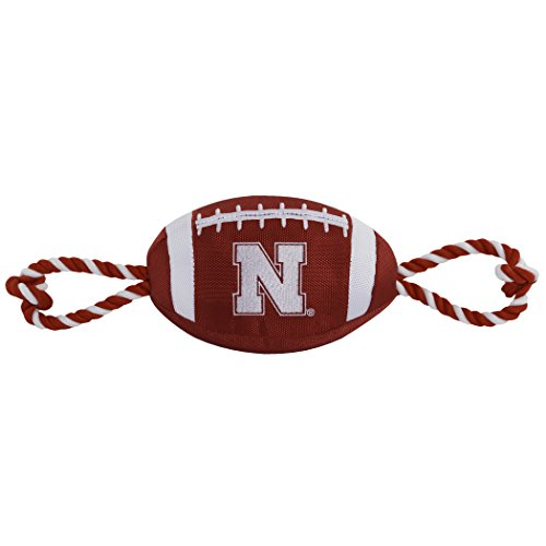 Pets First NCAA Nebraska Cornhuskers Football Dog Toy, Tough Quality Nylon Materials, Strong Pull Ropes, Inner Squeaker, Collegiate Team Color by Pets First