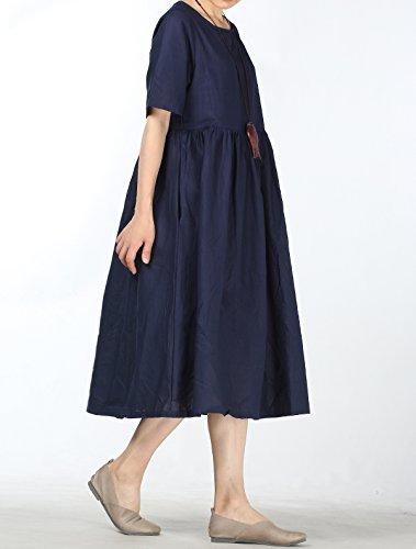 9f906bec761 Mallimoda Femme Robe d été Lin Ample Chic Décontractée Tops à Manches  Courtes  Amazon.fr  Vêtements et accessoires