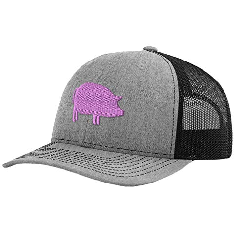 Richardson Trucker Hat Pink Pig B Embroidery Animal Name Polyester Baseball Mesh Cap Snaps - Heather Gray/Black, Design Only -