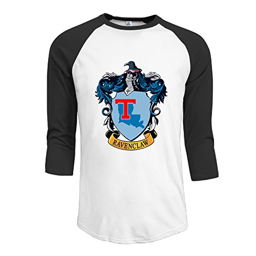 [PKTWO Louisiana Tech University Ravenclaw Crest Men's T-shirt 3/4 Sleeve Tees Black L] (Ravenclaw Mascot)
