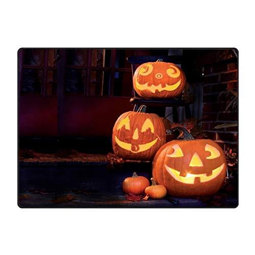 Hotspot Stylish Entrance Rubber Rug Halloween Pumpkin Faces Smiles Outdoor Doormat Welcome Floor Mat Home Decor ()