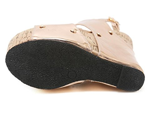 De Verano LINYI De De De Zapatos Sandalias Estilo Para Gold Zapatos Romanos Cuña Vestir Zapatos De Fiesta Mujeres wzPwxZrqn