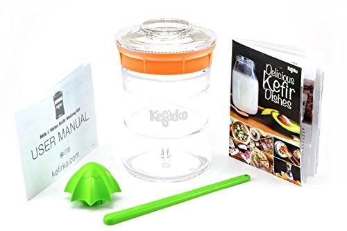 KEFIRKO - Kefir Fermenter Kit - Easily Brew your own Milk Kefir and Water Kefir - Orange (Yogurt Starter Kit)
