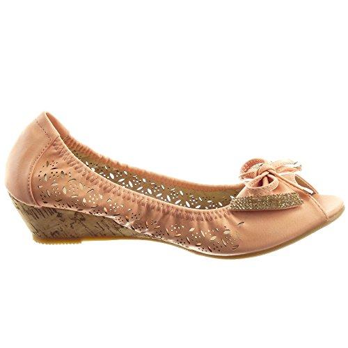 Sopily - Zapatillas de Moda Bailarinas Tobillo mujer pajarita strass Talón Plataforma 3.5 CM - Rosa
