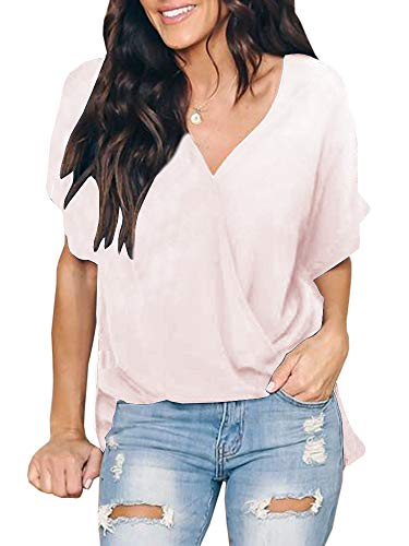 (Niitawm Womens Draped Wrap Tops V Neck Chiffon Short Sleeve Sexy Cute Loose Fit Tunic Tops)