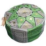Pouf fassi en cuir Vert pomme, pouf marocain fait main en cuir véritable