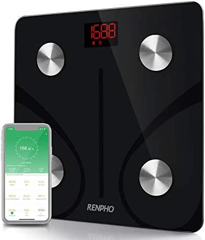 RENPHO Bluetooth Body Fat Scale Smart BMI Scale Digital Bathroom Wireless Weight Scale, Body Composition Analyzer with Smartphone App 396lbs - Black