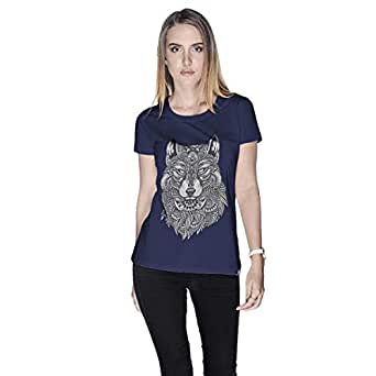 Creo Wolf Animal T-Shirt For Women - M, Navy