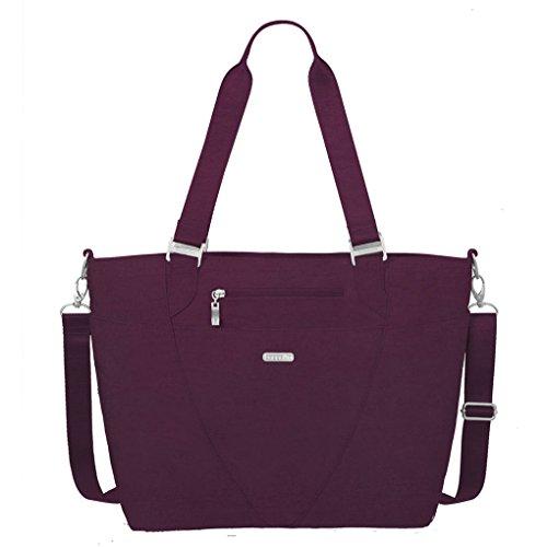 Baggallini Avenue Laptop Tote Travel Handbag ID Tag & Key Chain (Eggplant)