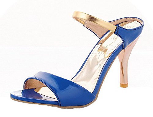 VogueZone009 Women Patent Leather Pull-On Open-Toe High-Heels Solid Sandals Blue