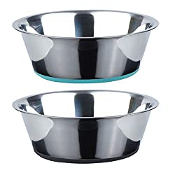 41okBvAaB8L. SS250  - No Spill Non-Skid Stainless Steel Deep Dog Bowls