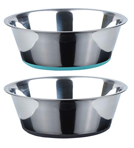 Peggy 11 No Spill Non-Skid Stainless Steel Deep Dog Bowls 50 Oz(6 Cups) Set of 2