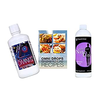 Image of Omni Drop Program Bundle of 3 Products - the 'Get Started Package' Includes Omni Drops Diet Drops with Vitamin B12 - 4 Ounce Bottle with Program Guide, Omni IV with Glucosamine, OmniTrim Nite Lite Health and Household