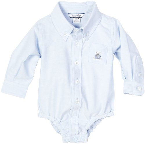 Hartstrings Baby-Boys Newborn Cotton Oxford Button Front Body Suit