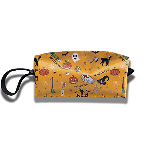 YyTiin Happy Halloween Doodles Hand Drawn Portable Receiving Bag Make-up Cosmetic Bag Multi-Function Bag Sewing Kit Stationery Bags ()