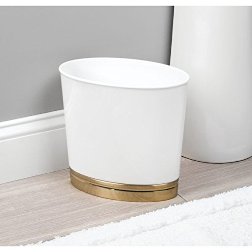 mDesign Oval Slim Decorative Plastic Small Trash Can Wastebasket, Garbage Container Bin for Bathrooms, Kitchens, Home Offices, Dorm Rooms - White/Soft Brass Base