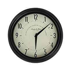 Adeco CK0085 Black Iron Vintage-Inspired Round Wall Hanging Clock, Large Numbers Home Decor, Black