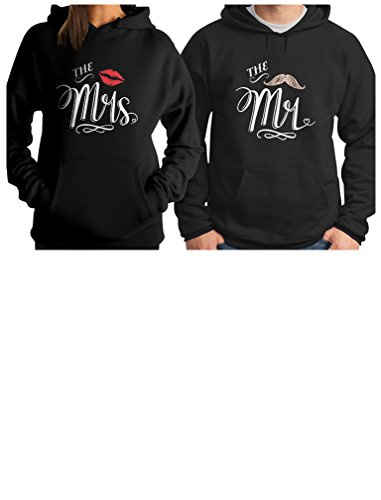 Mr & Mrs Gift for Couples Wedding, Anniversary, Newlywed Matching Set Hoodie Men Medium/Women Medium Black by Tstars