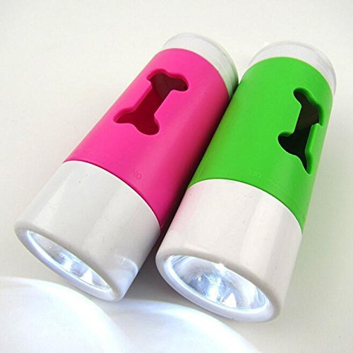LPET 2Packs LED Flashlight Dog Waste Bag Dispenser Holder with Pet Waste Bag Poop Roll (Dog Flashlight)