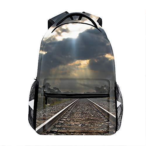 School Backpack Classic Travel Laptop Cloud Sky Track Railroad Sunset Backpack Rucksack Middle School Bookbag