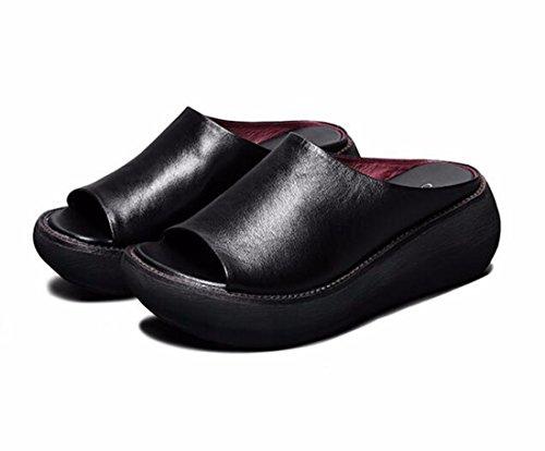 En Des De Cuir De Porter black Bas Pente Pantoufles KHSKX De De Talons Vintage Femmes Des Épais L'Été Sandales 71nnwR6E