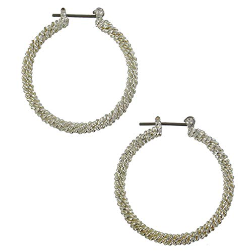 (Pierced Earrings Twisted Wire Mesh Circle Shiny Hoop Silver Tone 1 1/4