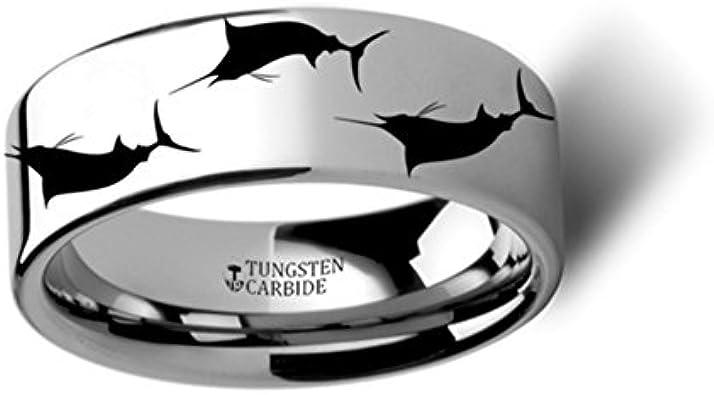 Thorsten SEA Life Shark Predator Fish Sea Print Pattern Ring Flat Black Tungsten Ring 12mm Wide Wedding Band from Roy Rose Jewelry