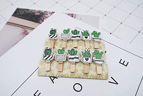 takestop® Set 20 Pezzi MOLLETTINE Cactus di Legno MOLLETE Clip con Corda Juta Decorazione Appendere Foto Parete Biglietti Festa Compleanno MOON 10012859
