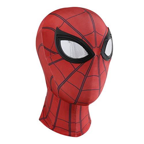 Halloween Mask Spider Man Cosplay Costumes Lycra Mask Superhero Lenses (red)