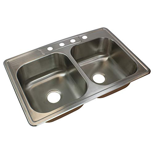 Transolid CTDE33228-4 Classic 4-Hole Drop-in 50/50 Double Bowl 18-Gauge Stainless Steel Kitchen Sink, 33-in x 22-in x 8-in, Brushed Finish ()