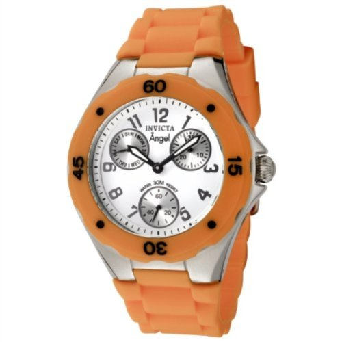 Invicta Women's 0696 Angel Collection Multi-Function Stainless Steel Orange Polyurethane Watch