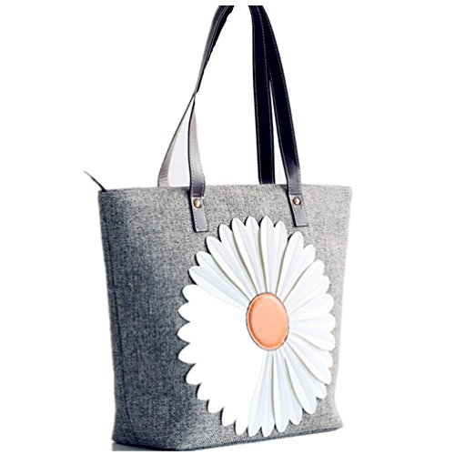 Shopper Cotton Leather Beach 100 Double Flower Tote Strap Canvas Handbag Santwo Grey fqzX57w5