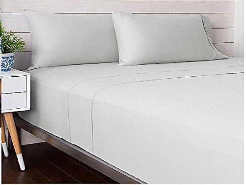 Livingston Home 9178LNE-3T-SL-Q Satin TC 300 Cotton Queen Sheet Silver B01MZ3Q2UK クイーン|シルバー シルバー クイーン
