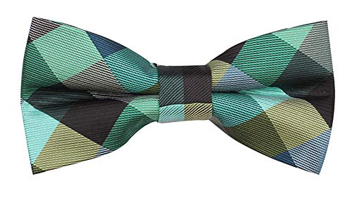 Check Skinny Tie - Men's Urban Tartan Plaid Check Styles Bow ties Super Skinny Youth Students Party Suit Bowties Green Teal Grey