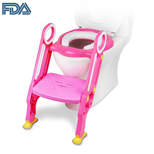 [FDA Certified] Ostrich Toilet Step Trainer Ladder for Kid and Baby, Childrens Toilet Seat Chair, Toddlers Toilet Training Step Stool for Girl and Boy (Pink)
