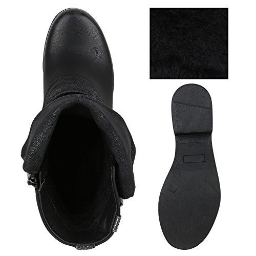 cb24155567cf98 ... Stiefelparadies Stylische Damen Stiefeletten Stiefel Biker Boots  Metallic Nieten Flandell Schwarz Schnalle